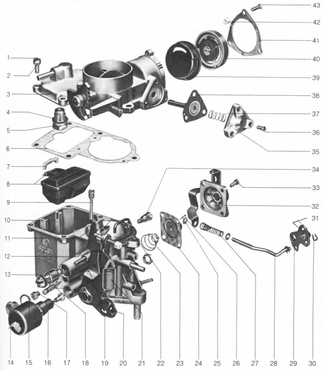 34 Pict 3 Carburetor Overhaul Empi Wiring Diagram A General Exploded View Of The 34pict Is Shown In Following That Listing Parts Giving Nomenclature And Part