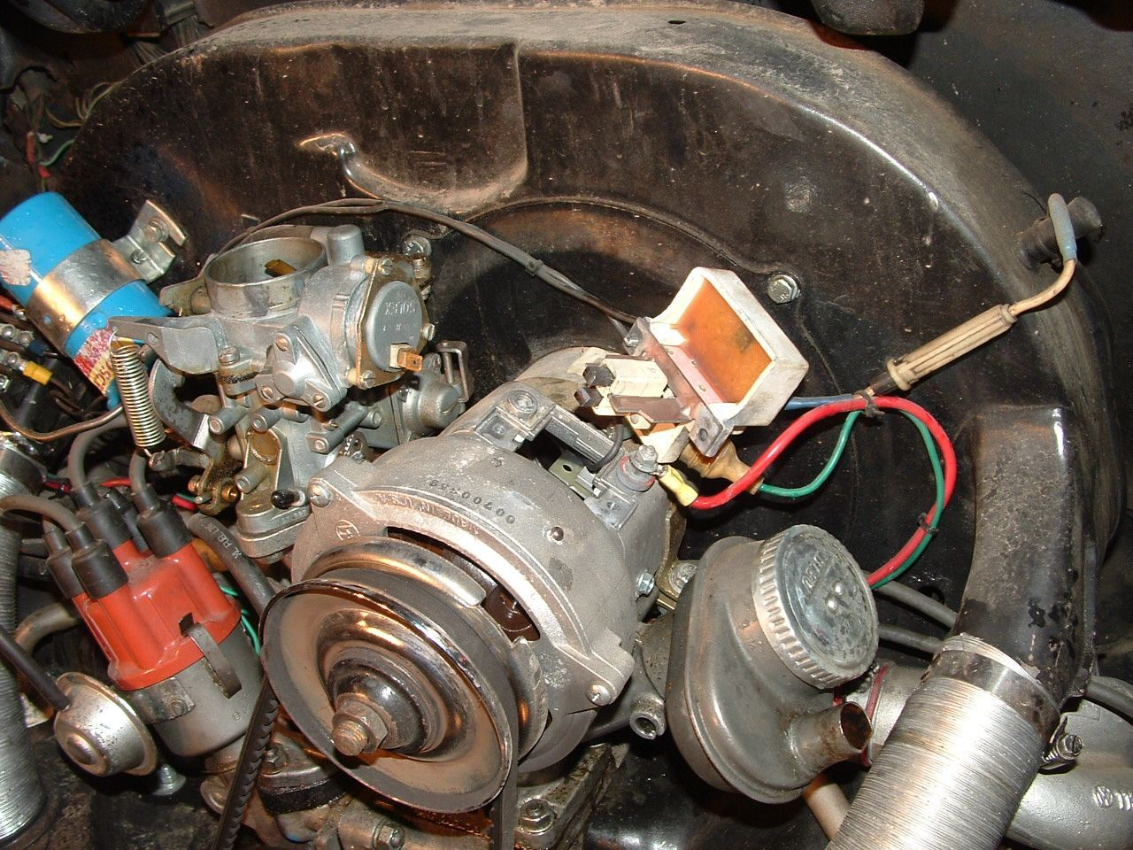 Alternator Rebuilding Gen Air Cooled Vw Wiring Diagram A Wire That Will Prevent You From Moving It Up Too Far Note The Two Brushes Extend Down Into And Rub On Slip Rings